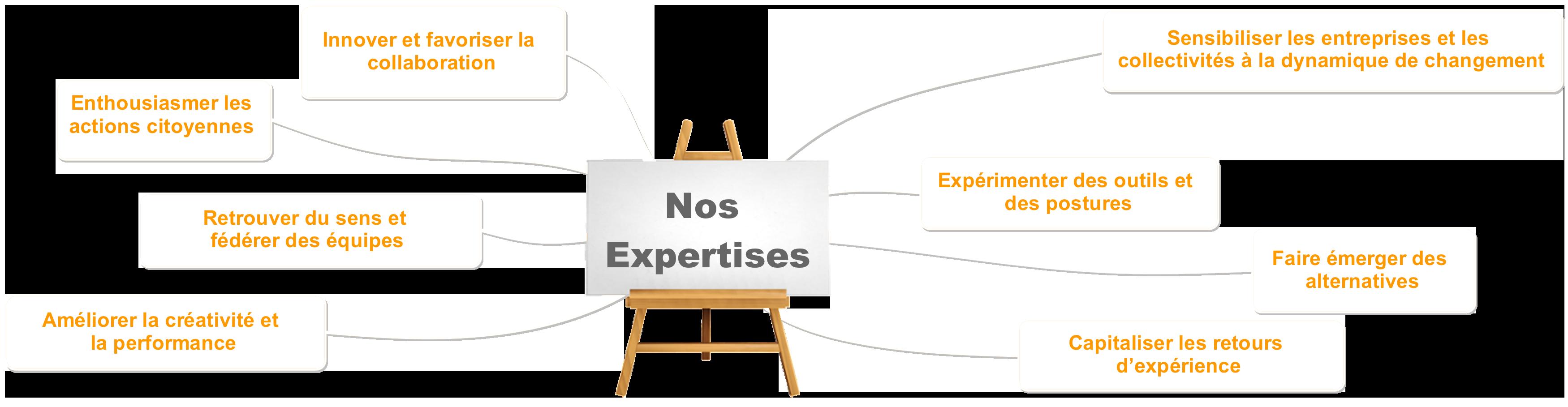 Innover et favoriser la collaboration, enthousiasmer les actions citoyennes, retrouver du sens et fédérer des équipes, améliorer la créativité et la performance, sensibiliser les entreprises et les collectivités à la dynamique de changement, expérimenter des outils et des postures, faire émerger des alternatives, capitaliser les retours d'expérience
